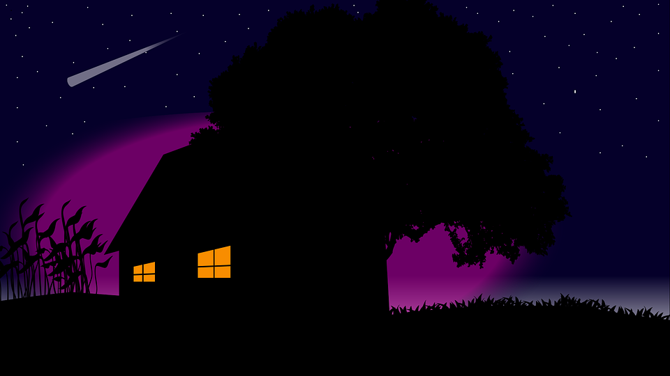 Galaxy, Milky Way, Tree, House, Night, Space, Sky
