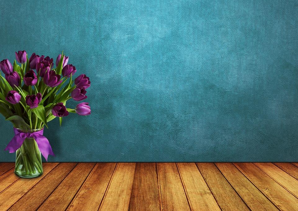Tulips, Space, Wood, Vase, Wall, Flowers, Loop, Vintage