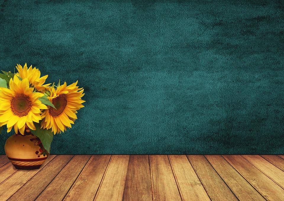 Sunflower, Space, Wood, Vase, Wall, Flowers, Vintage