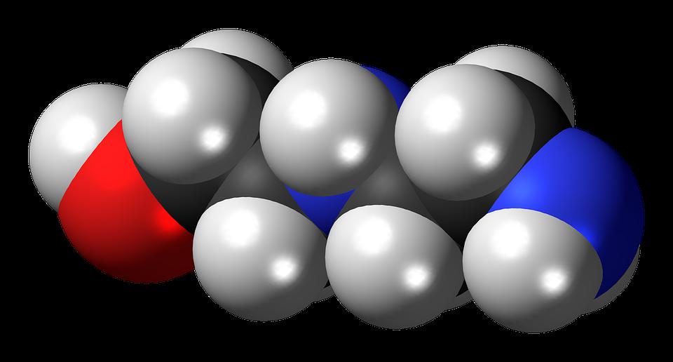 Aminoethylethanolamine, Spacefill, Model, Molecule