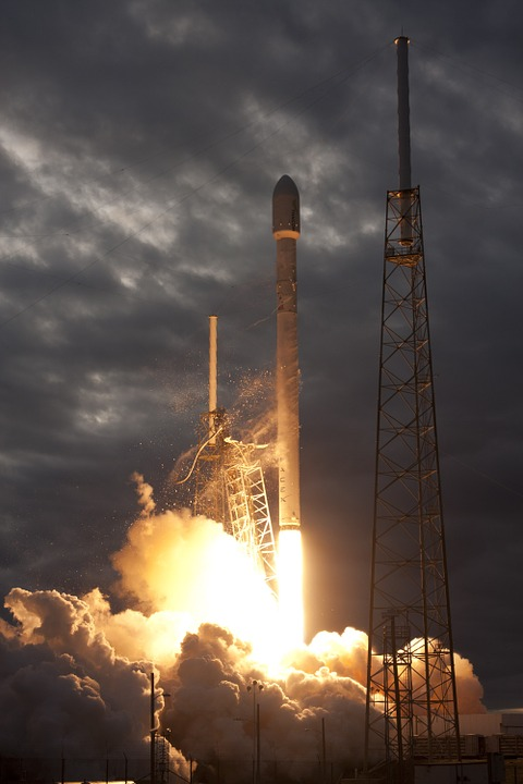 Lift-off, Rocket Launch, Spacex, Launch, Flames