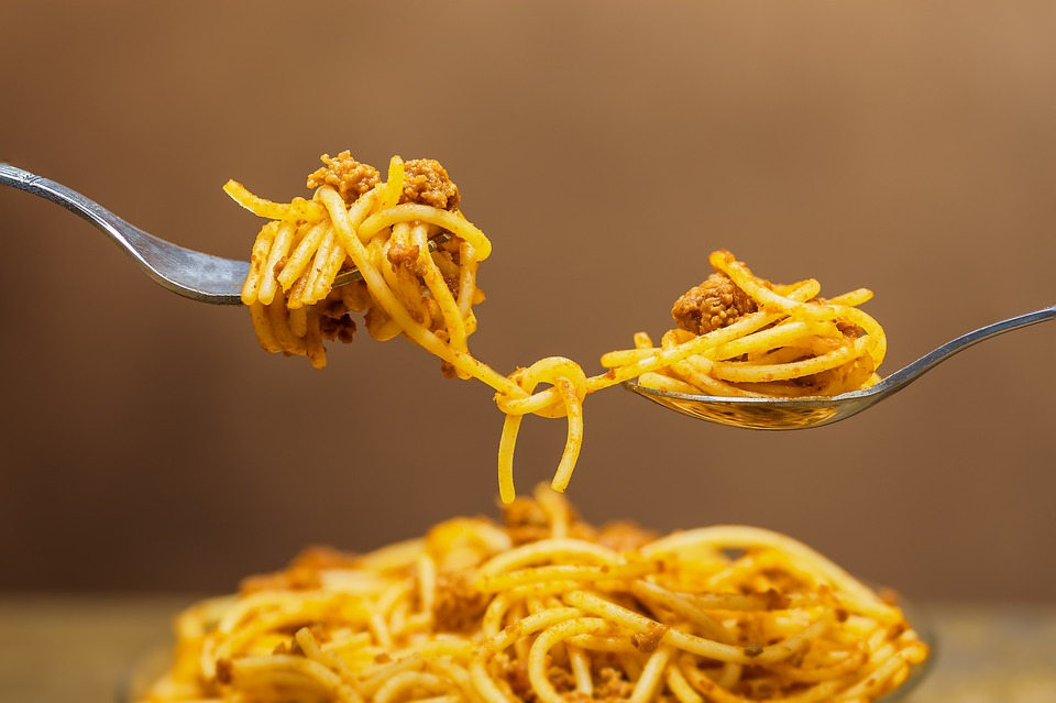 Noodles, Spaghetti, Knotted, Connected, Pasta, Meat