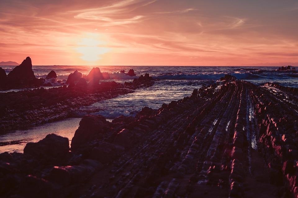 Sunset, Spain, Sea, Water, Summer, Abendstimmung