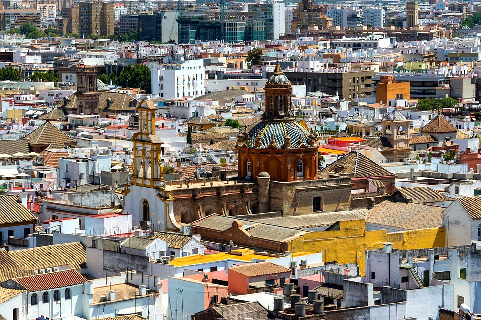 Seville, Spain, City, Cityscape, Buildings, Church