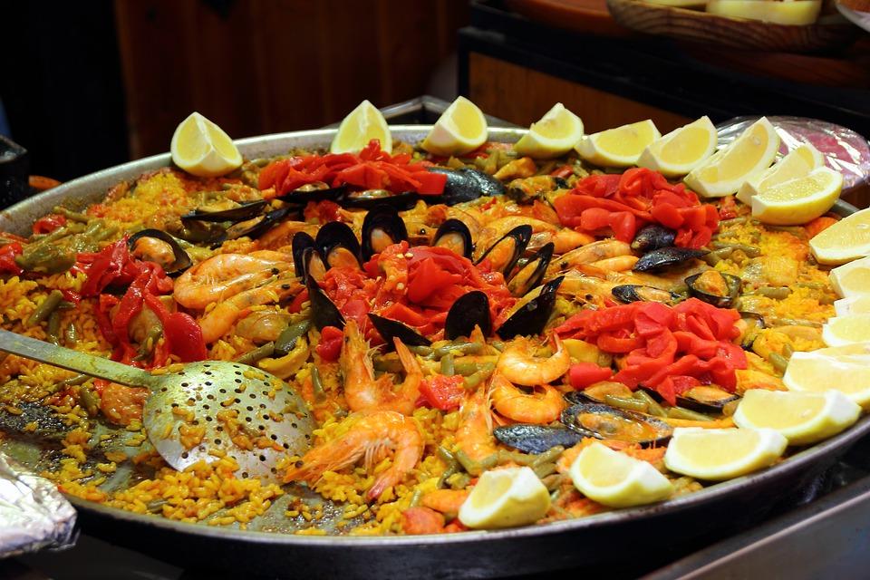 Paella, Rice, Scampi, Lemons, Spain, National Dish, Eat