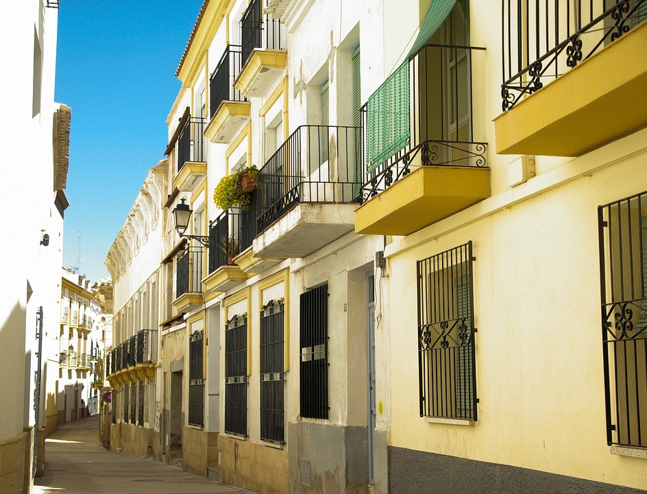 Spain, Lorca, Lane, Balconies, Architecture