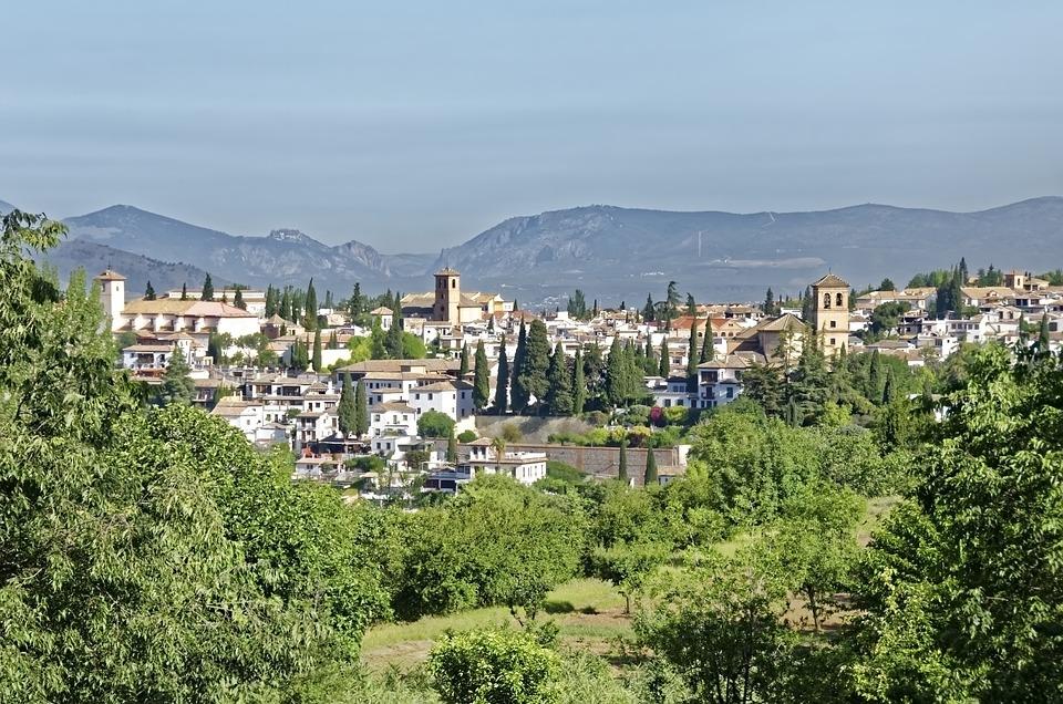 Spain, Granada, Panorama, Landscape, City, Mountains