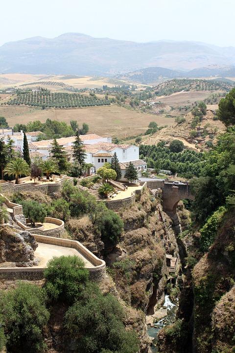 Ronda, Spain, Europe, Town, Village, Bridge, Landscape