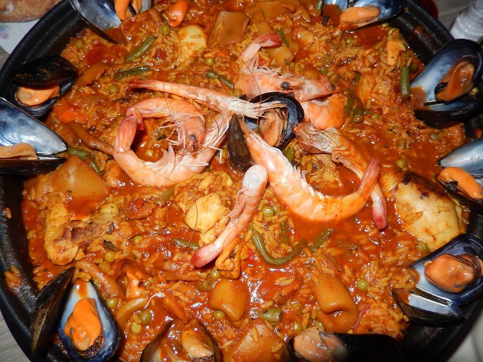 Paella, Rice, Crustaceans, Food, Spanish