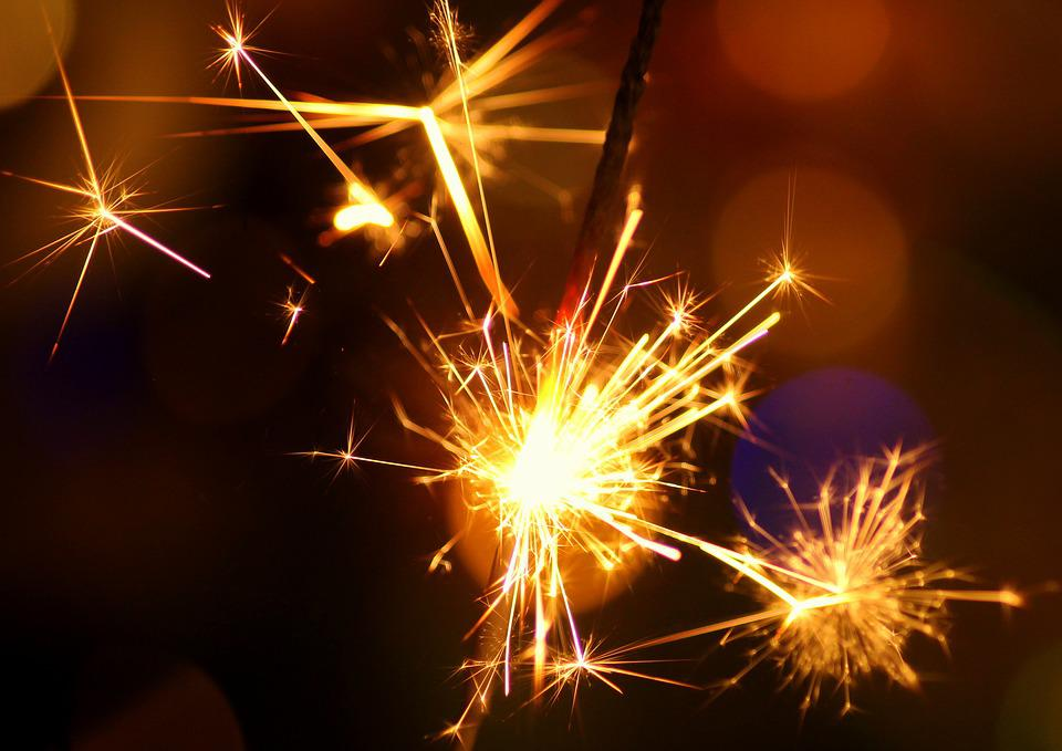Sparkler, Sparks, New Year's Eve, New Year's Day, Light