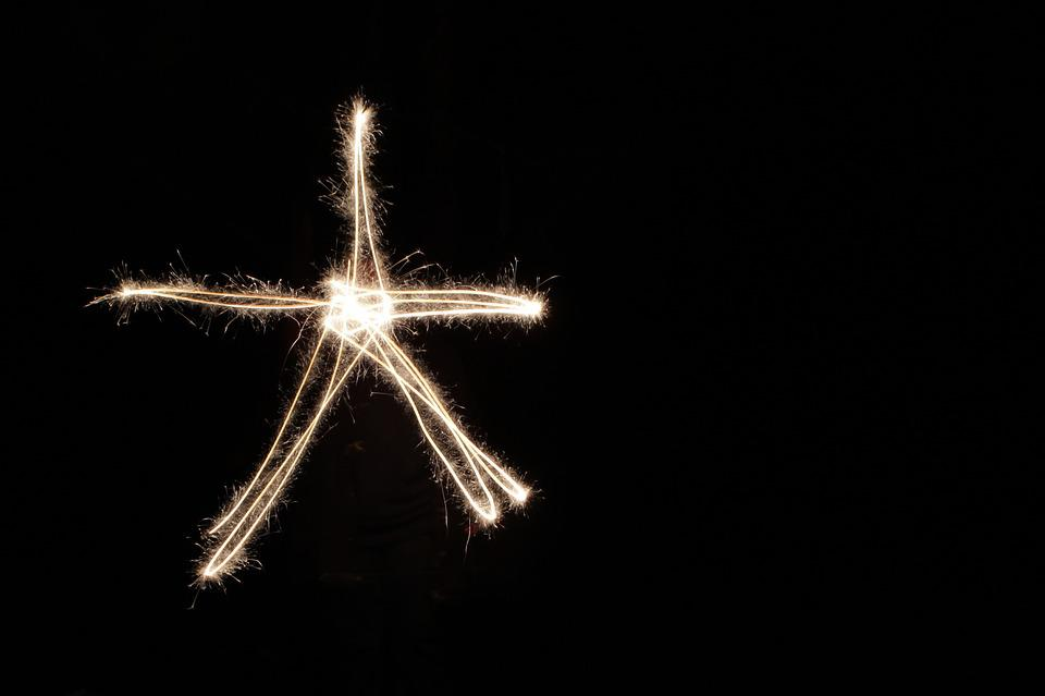 Sparkler, Light Art, Star, Night