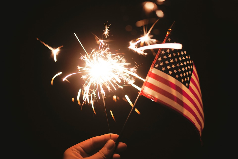 Sparklers, American, Flag, Independence Day