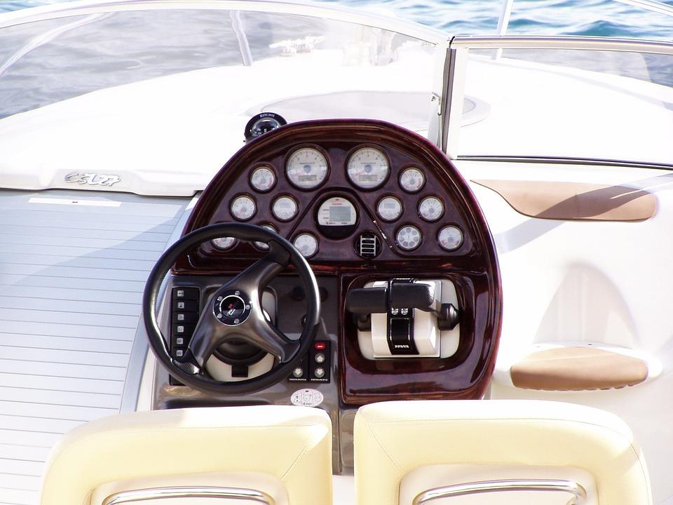 Speedboat, Guide, Steering Wheel, Sea, Drive, Pilot
