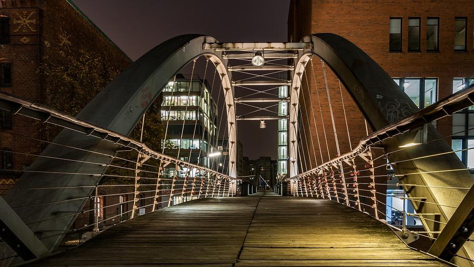 Speicherstadt, Hamburg, Bridge, Architecture, Building