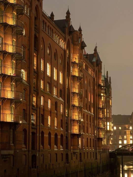 Hamburg, Speicherstadt, Evening, Lighting, Architecture