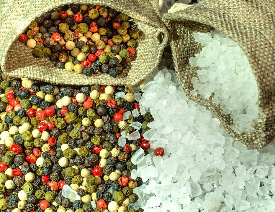 Salt, Pepper, Spices, Season, Grains, Colorful Pepper
