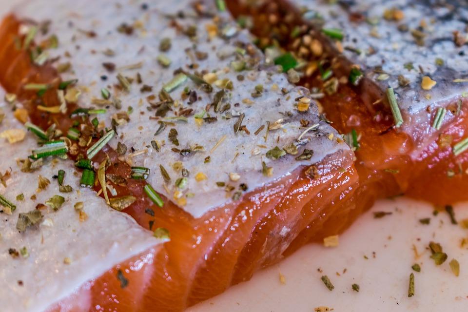 Salmon, Raw, Spices, Herbs, Skin, Salmon With Skin