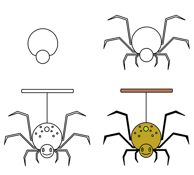 Drawing, Spider, Scary, Halloween, Yellow