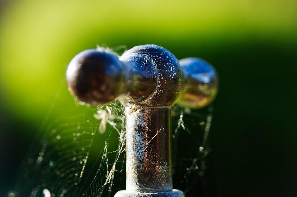 Faucet, Metal, Shiny, Rust, Old, Spider Webs, Macro