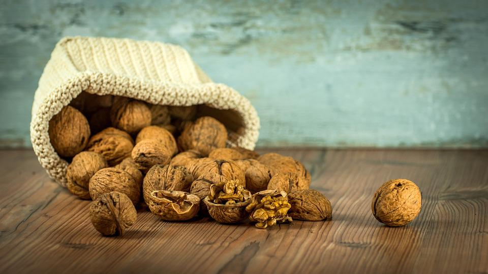 Walnuts, Nuts, Dump, Spill, Bag, Table, Still Life