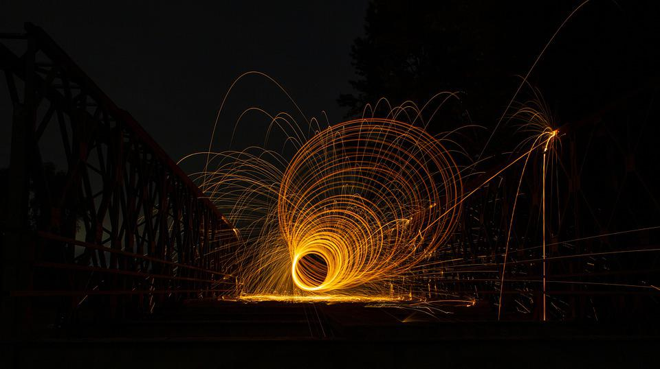 Fire Spinning, Spinning, Sparks, Light Trails