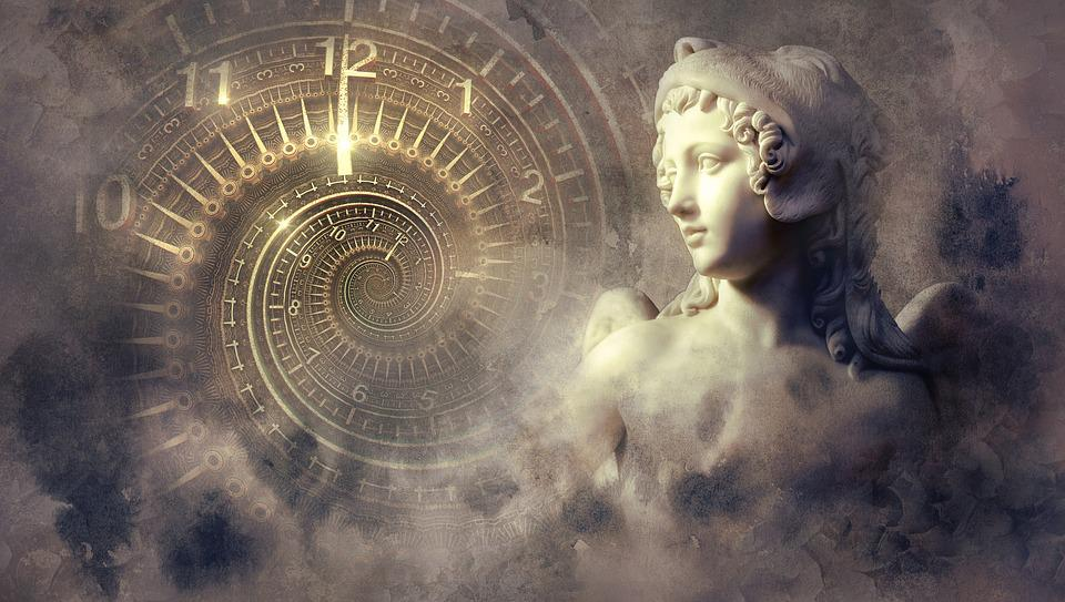 Fantasy, Clock, Statue, Light, Spiral, Angel, Mystical