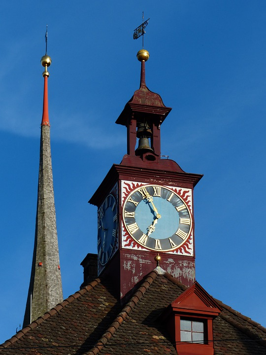 Clock, Time Indicating, Time Of, Town Hall Clock, Spire