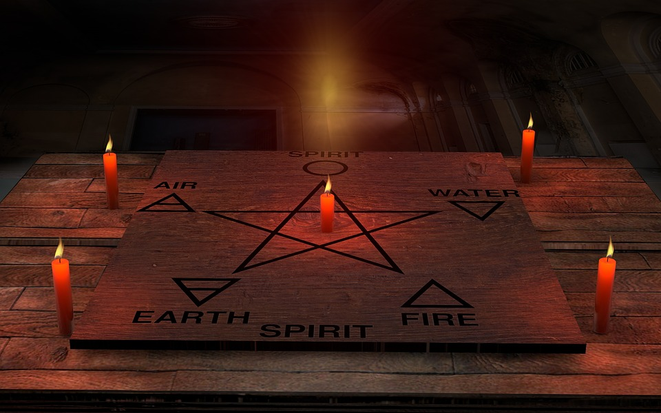 Candles, Space, Wood, Pagan, Pentagram, Air, Spirit