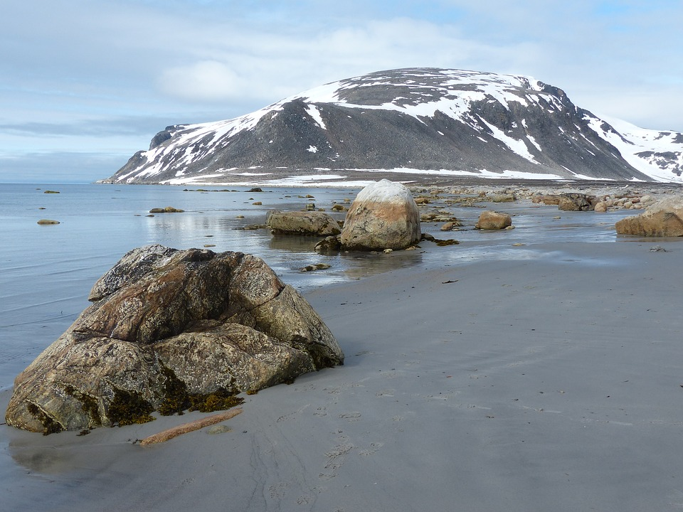 Spitsbergen, Ice Cold, Bank, Stones, Mountains, Beach
