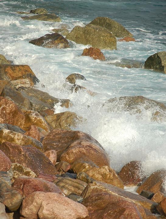 Stones, Rippling, Water, Sea, Golf, Splash, Coast