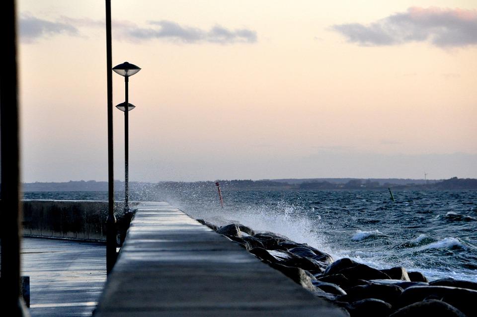 Port, Coast, Sea, Waves, Splash, Ocean, Countryside