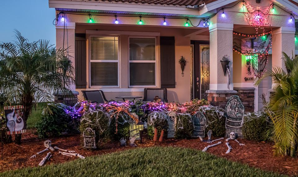 Halloween, Decorations, Grave Yard, Spooky, Colorful