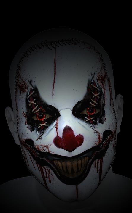 free photo spooky halloween terror scary evil creepy clown. Black Bedroom Furniture Sets. Home Design Ideas