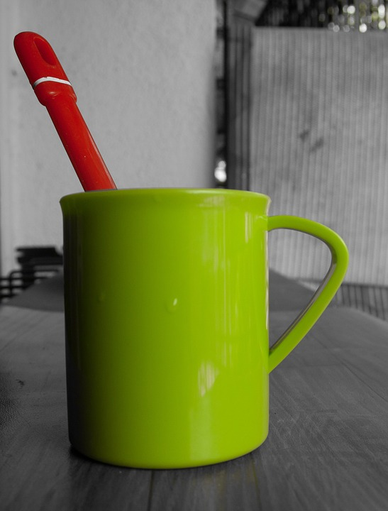 Green, Cup, Spoon, Red