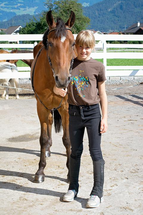 Horse, Pony, Brown, Child, Girl, Sport, Equestrian