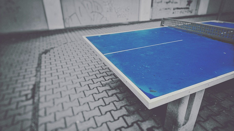 Table Tennis, Ping Pong, Ping Pong Table, Sport, Blue