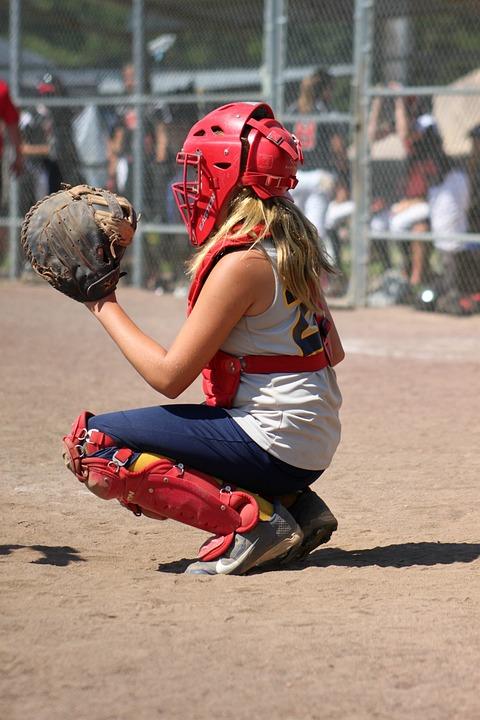 Softball, Catcher, Girl, Young, Play, Glove, Sport