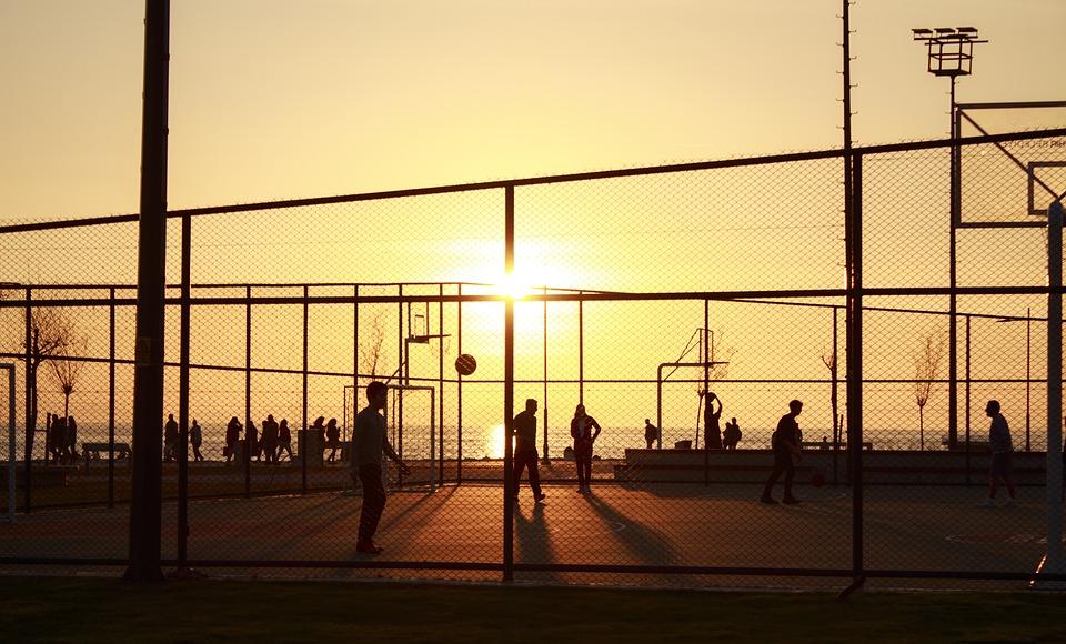 Sunset, Basketball, Court, Sport, Silhouette, Play