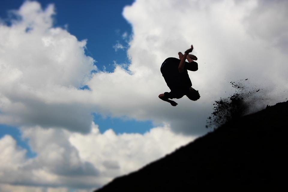 Jump, Somersault, Fun, Sport, Nature