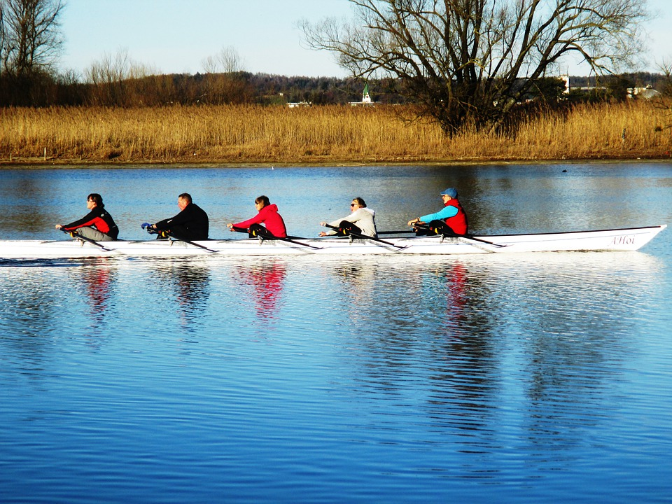 Rowing Boat, Rowing, Five Seater, Boot, Sport, Strait