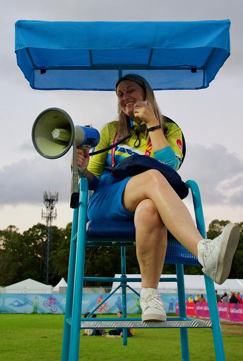 Announcer, Loudspeaker, Young, Sport, Woman, Summer