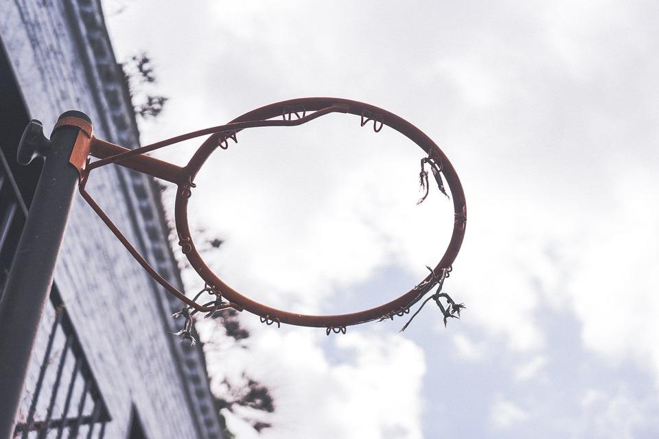 Basketball, Hoop, Net, Rim, Sports, Sky, Clouds