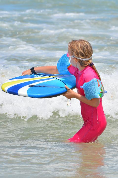 Child, Girl, Surf, Waves, Surfboard, People, Sports