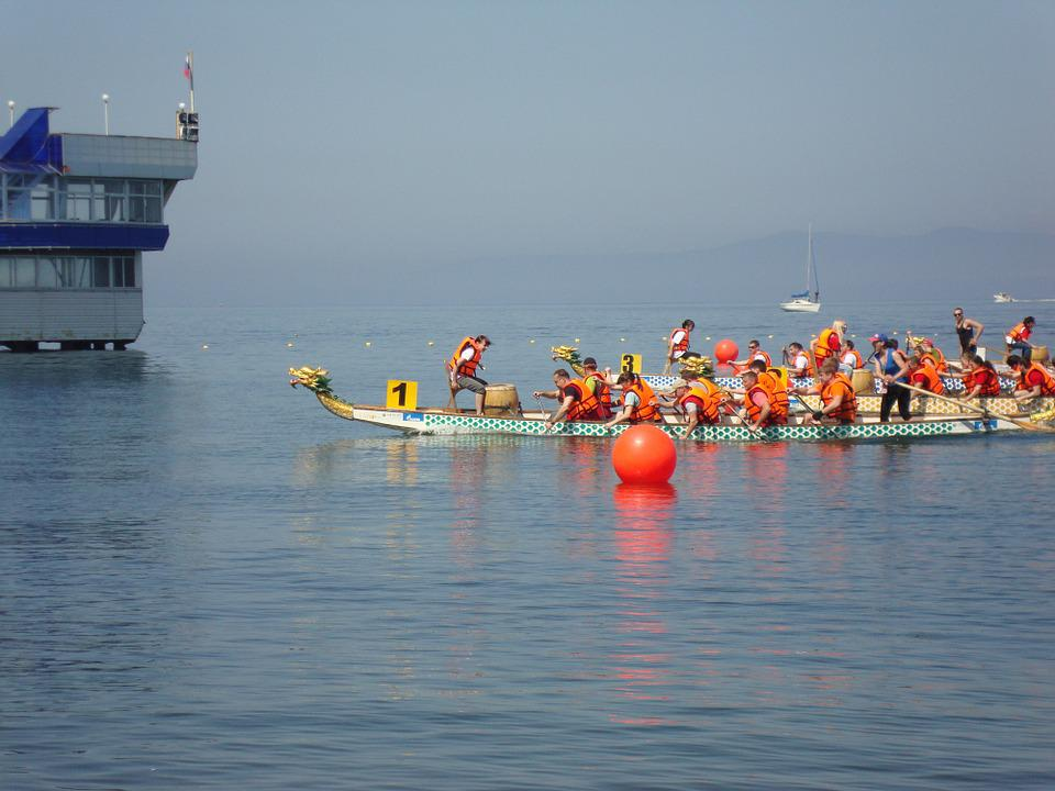 Rowing, Team, Sports, Sea
