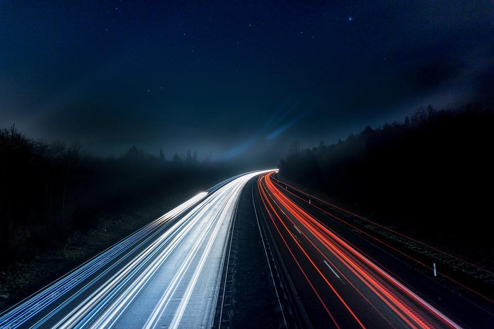 Highway, Lights, Night, Road, Spotlight, Long Exposure