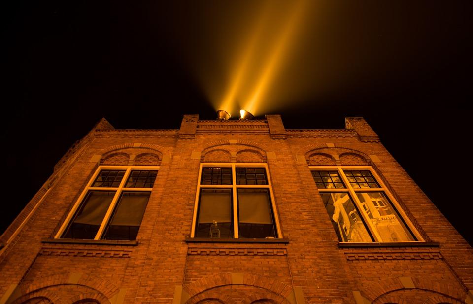 Spotlights, House, Spots, Lights, Light, Architecture