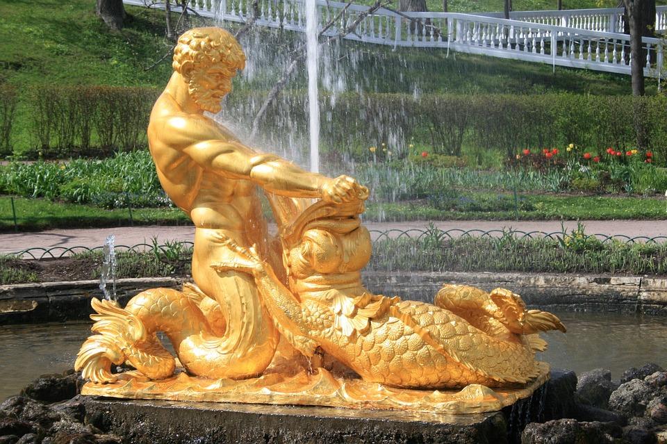 Fountain, Water, Spout, Statue, Bronze, Man, Triton