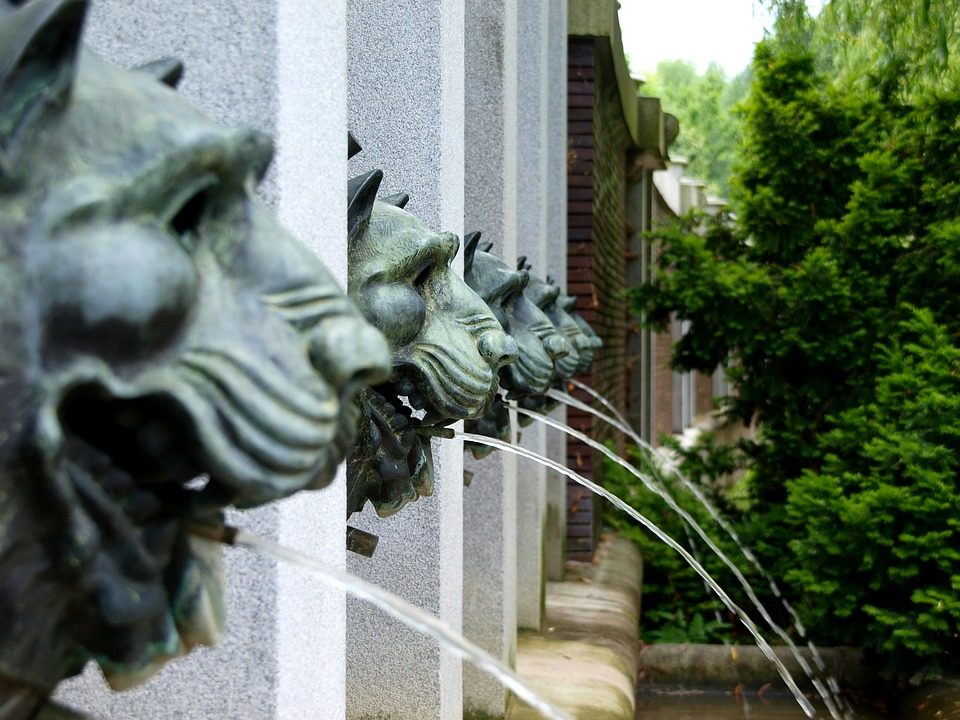 Fountain, Lions, Spout, Water