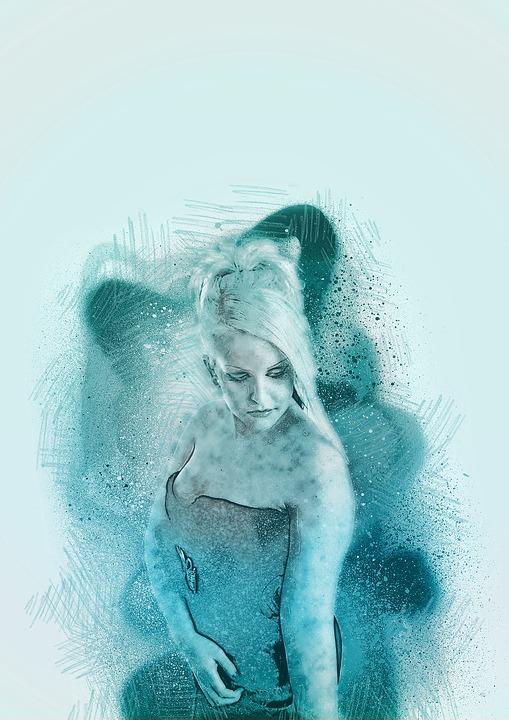 Girl, Drawing, Spray, Blue, Illustration, Modern