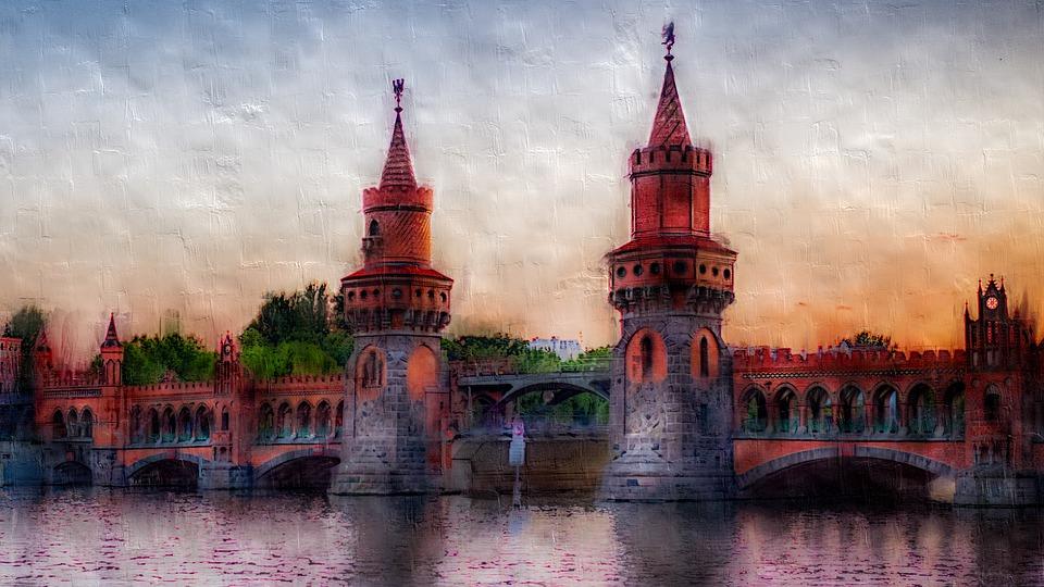 Berlin, City, Germany, Spree, Oberbaumbrücke, Bridge